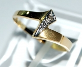 Goldring, bicolor, Gold 750/18 K, Diamant 0,005ct, Ringgr��e 58