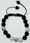 Preview: Shamballa-Stil Armband Onyx-Howlith, ca. 17-23 cm lang
