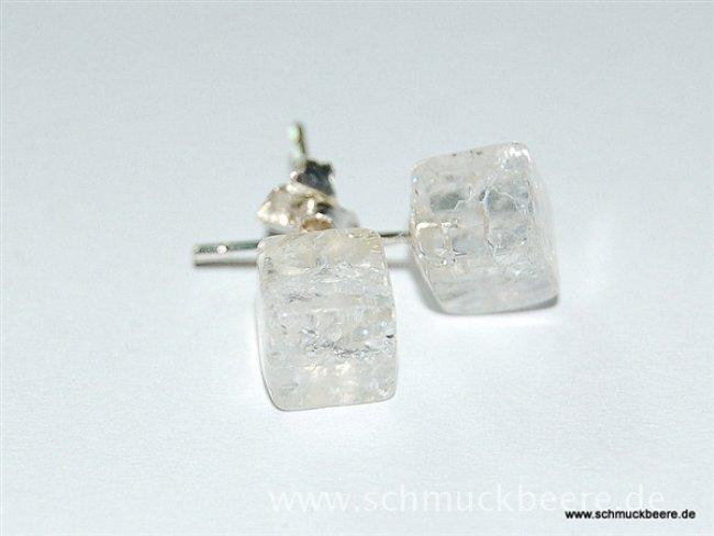 edelsteinohrstecker bergkristall crack w rfel 6x6x6 mm. Black Bedroom Furniture Sets. Home Design Ideas